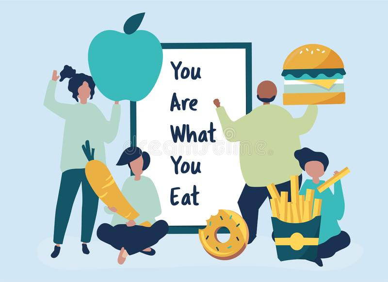 La gente con l'illustrazione delle icone dell'alimento illustrazione vettoriale