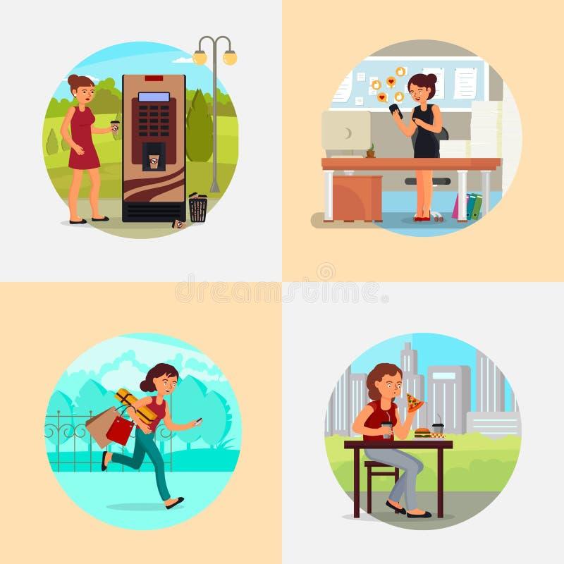 La gente con l'illustrazione piana di vario vettore di dipendenze royalty illustrazione gratis