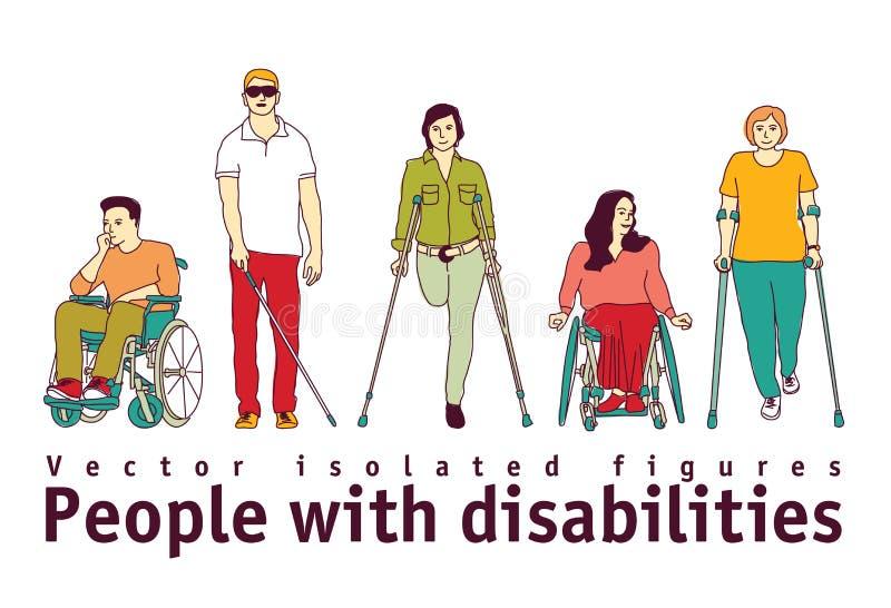 La gente con le inabilità isola gli oggetti su bianco illustrazione di stock