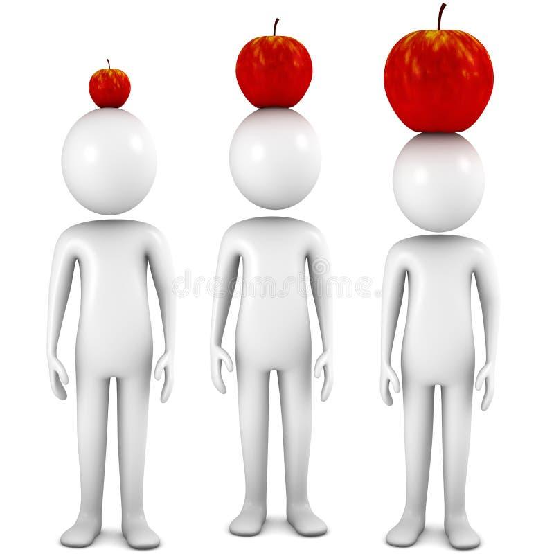 La gente con le mele sulle teste immagini stock