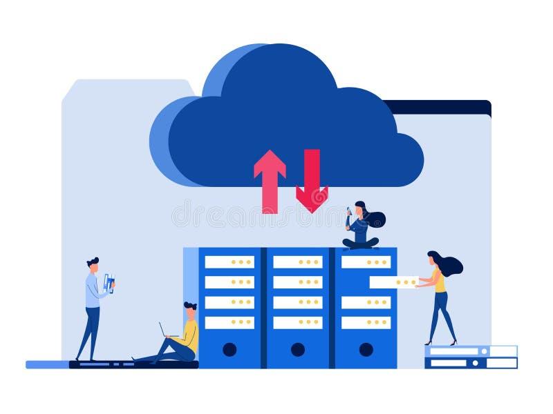 La gente con los artilugios, ordenador portátil, smartphone, mantiene el fichero servicio del almacenamiento de la nube Concepto  libre illustration
