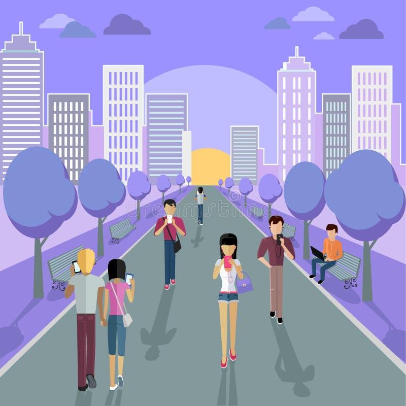 La gente con Smartphone sulla via royalty illustrazione gratis