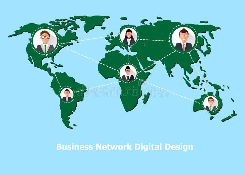 La gente conectó todos en todo el mundo Vector stock de ilustración