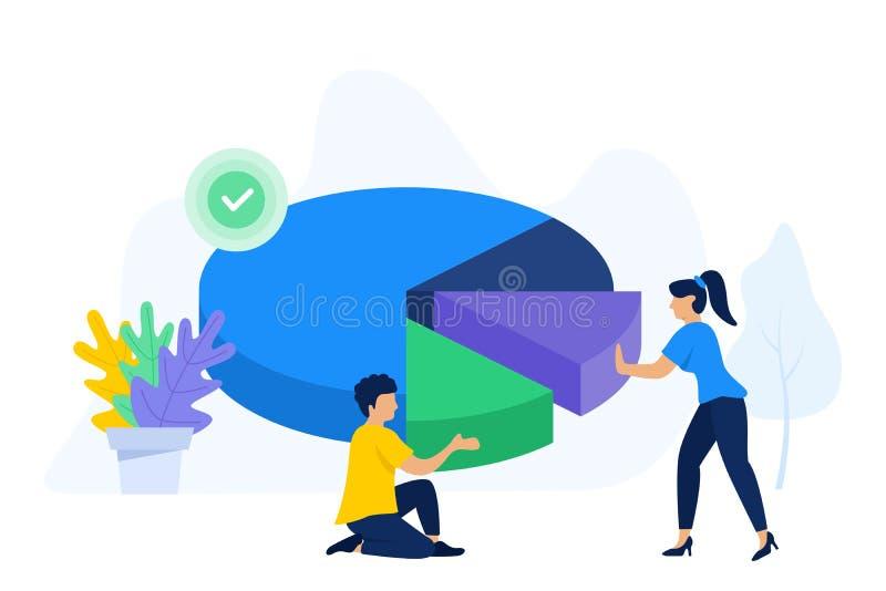 La gente creativa colabora para organizar el gráfico de sectores ilustración del vector