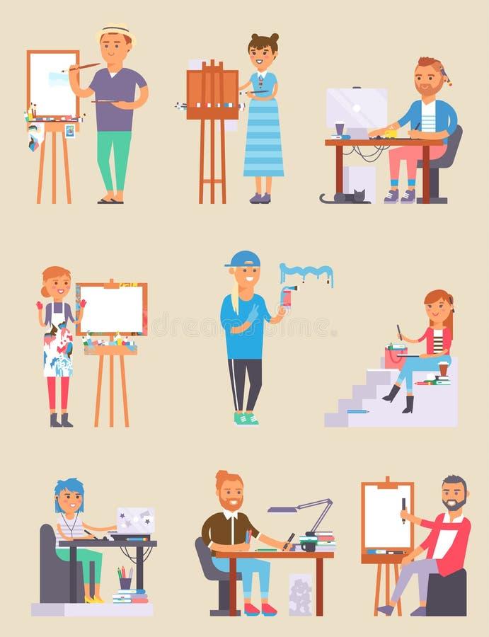 La gente creativa del vector del diseñador joven del artista en estudio durante dolor trabaja Retrato que dibuja a gente creativa ilustración del vector