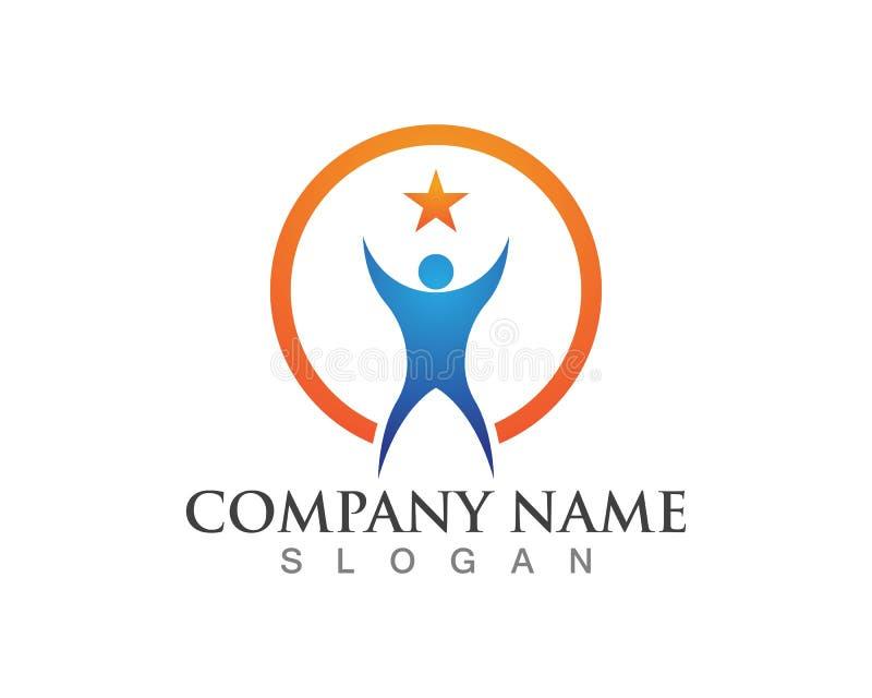 La gente cuida iconos de la plantilla del logotipo de la vida de la salud del éxito stock de ilustración