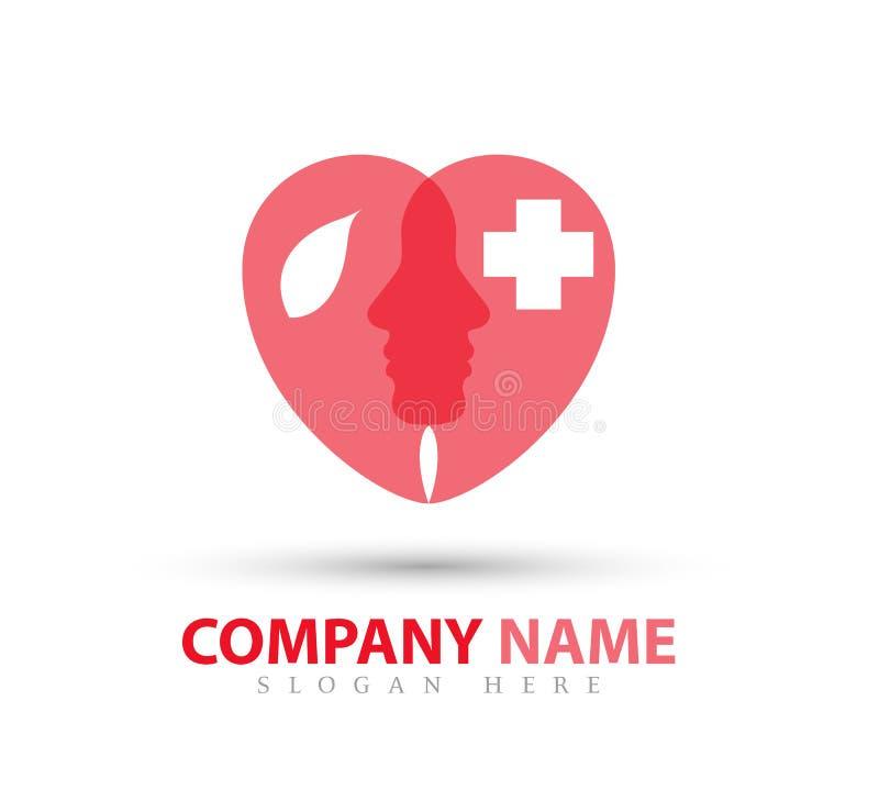 La gente, cura, forma Logo Icon Design del cuore di bellezza royalty illustrazione gratis