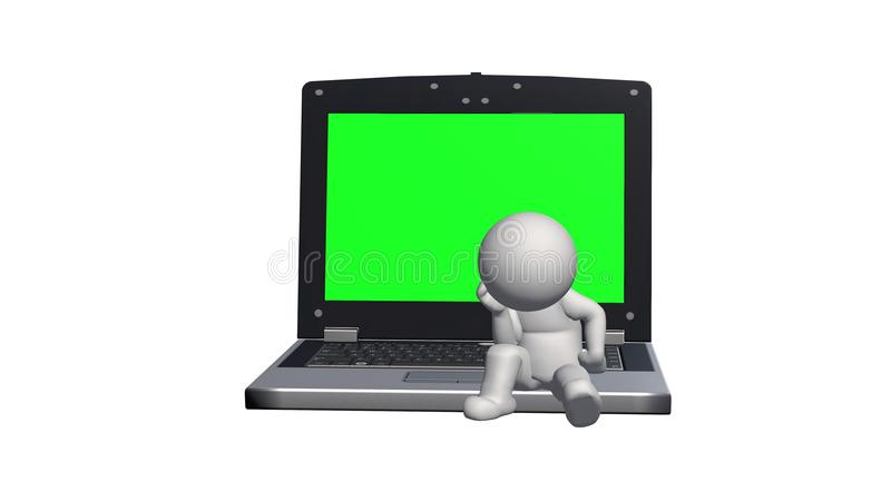 la gente 3D che si siede sul taccuino con lo schermo verde illustrazione di stock