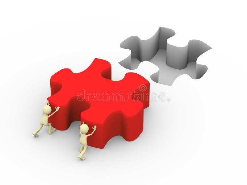 la gente 3d che spinge la grande soluzione di puzzle illustrazione di stock