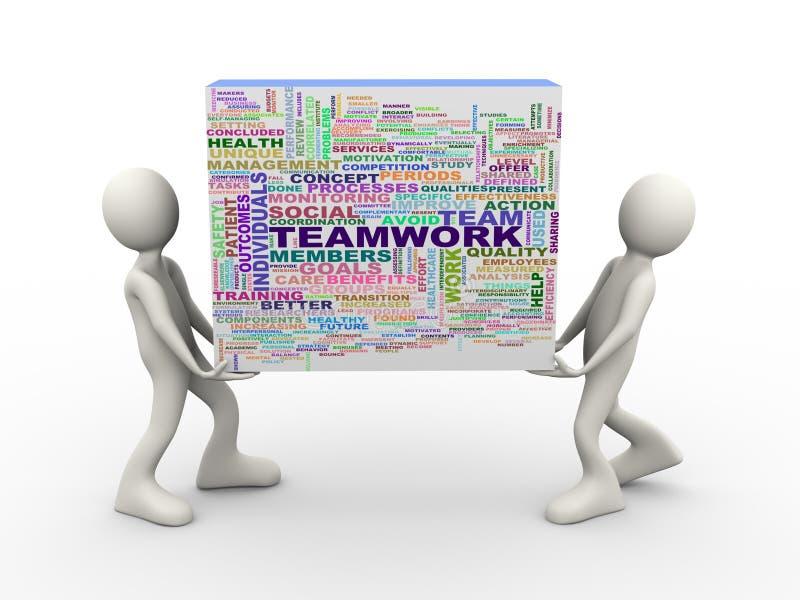 la gente 3d che tiene le etichette di parola del wordcloud di lavoro di squadra royalty illustrazione gratis