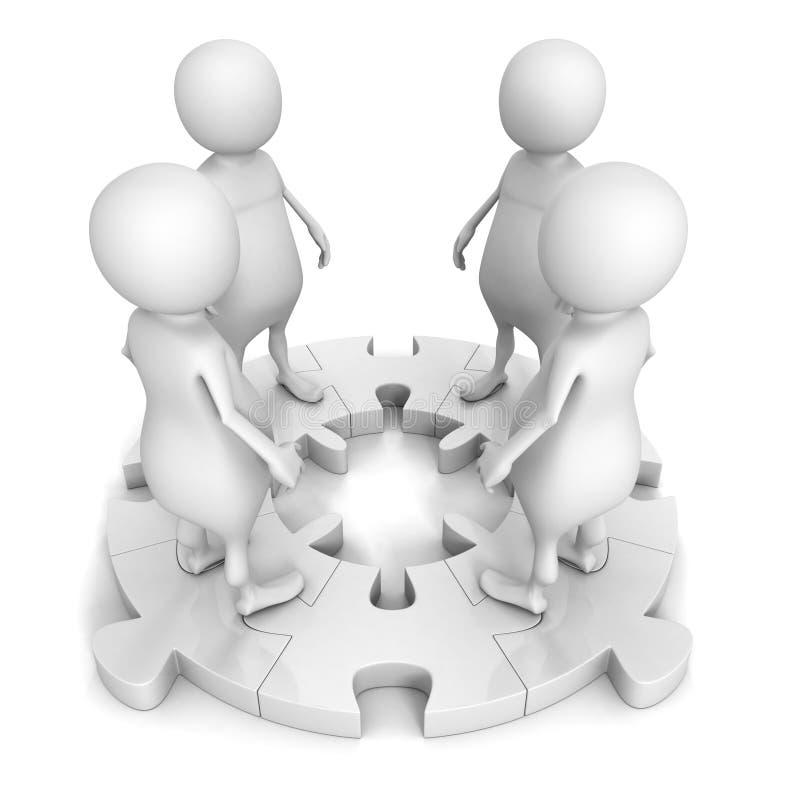 la gente 3d combina al grupo en rompecabezas redondo del trabajo en equipo del concepto libre illustration