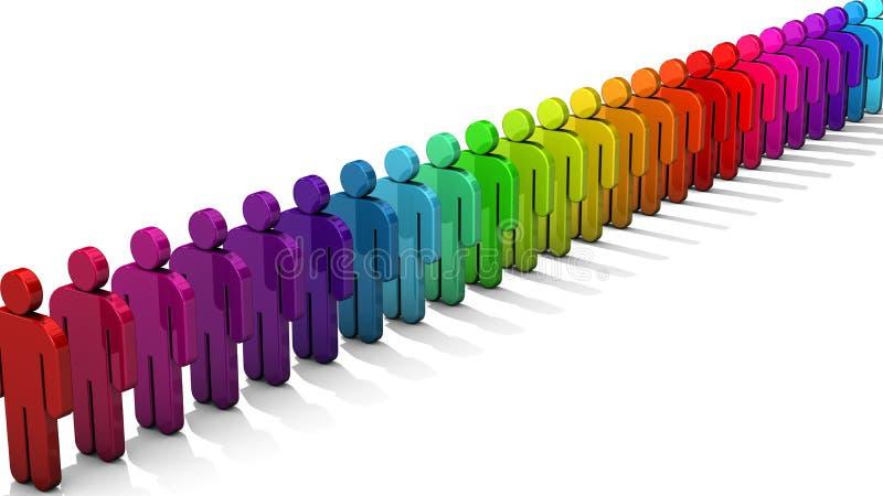 la gente 3D figura en la fila de figuras coloridas en el fondo blanco con la profundidad del efecto de foco del campo stock de ilustración