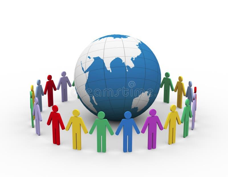 la gente 3d intorno al globo illustrazione di stock