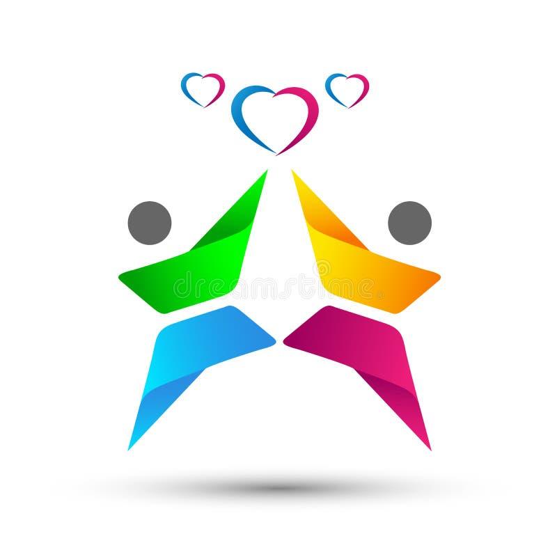 La gente de la familia junta el logotipo feliz del amor de la celebración de los corazones de la unión del amor en el fondo blanc stock de ilustración