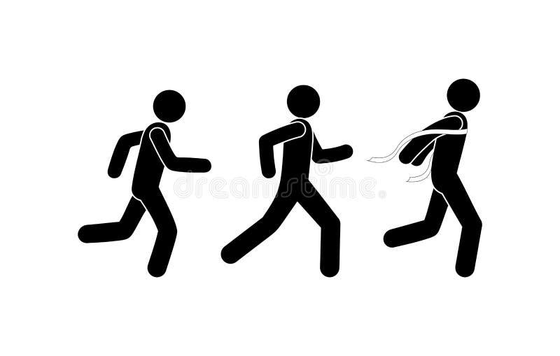 La gente de funcionamiento del pictograma, los acontecimientos deportivos pega la figura icono del ganador ilustración del vector