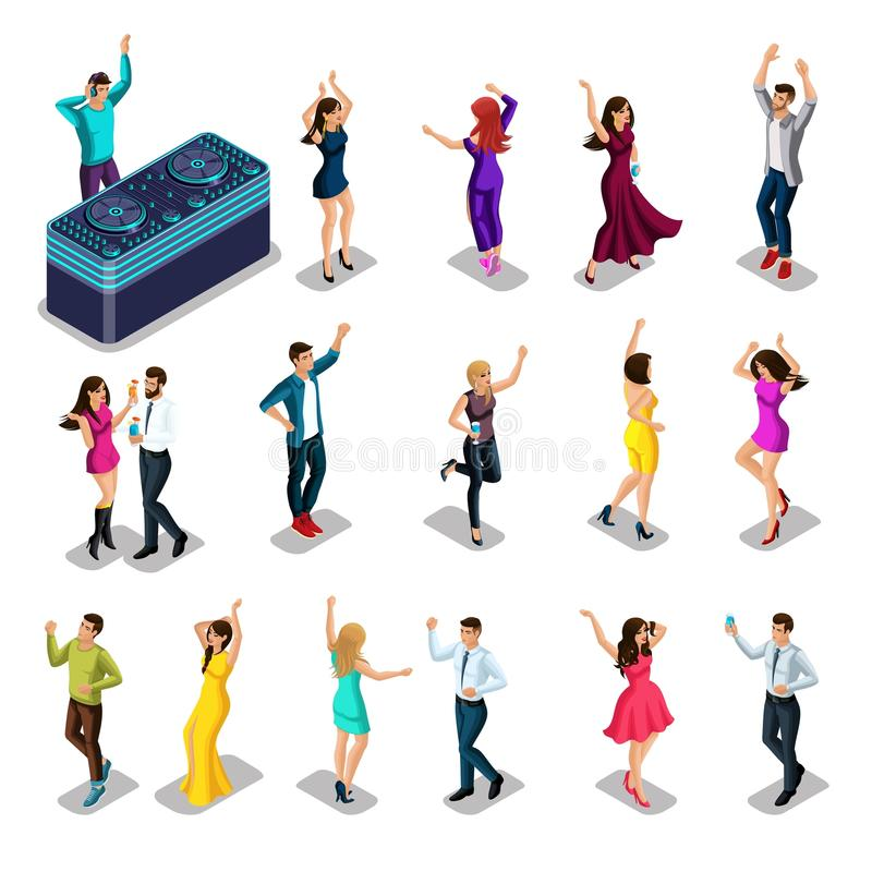 La gente de Isometrics baila, felicidad es diversión, un sistema de hombres y mujeres para un partido, DJ con un teledirigido Eje ilustración del vector