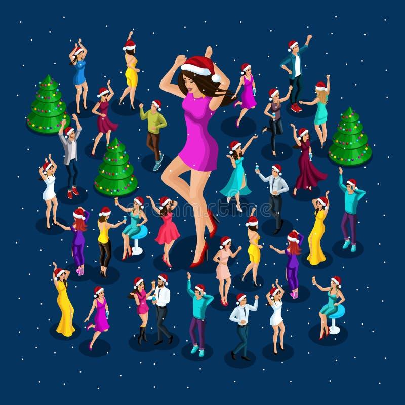 La gente de Isometrics celebra la Navidad, partido, bailando alrededor del árbol de navidad, una muchacha hermosa grande enérgico stock de ilustración