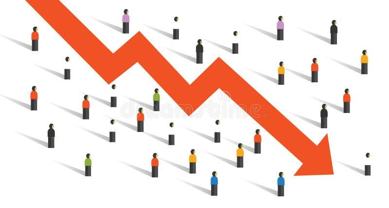 La gente de la economía de la crisis de la flecha abajo aprieta alrededor de la inversión descendente de la economía de la carta  ilustración del vector