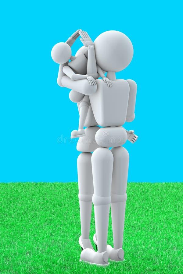 La gente de la marioneta simboliza la familia del bienestar de hogar stock de ilustración