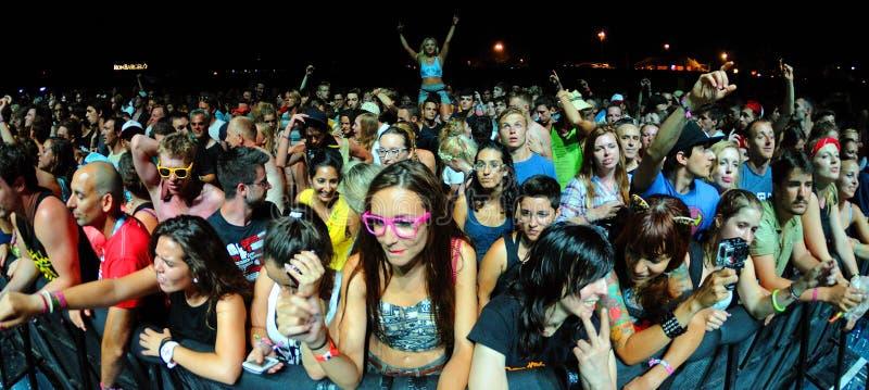 La gente de la muchedumbre (fans) mira un concierto en el festival de la BOLA imágenes de archivo libres de regalías