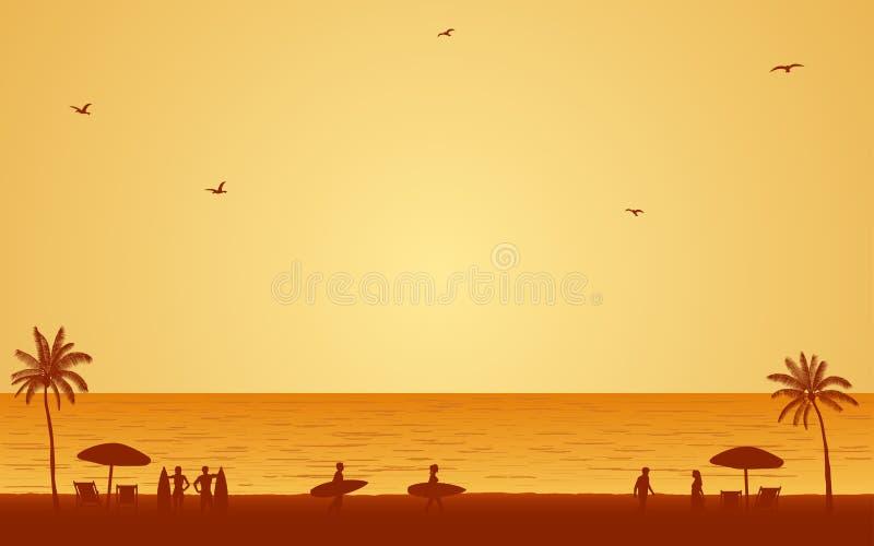 La gente de la silueta con la tabla hawaiana en la playa bajo fondo del cielo de la puesta del sol en icono plano diseña libre illustration