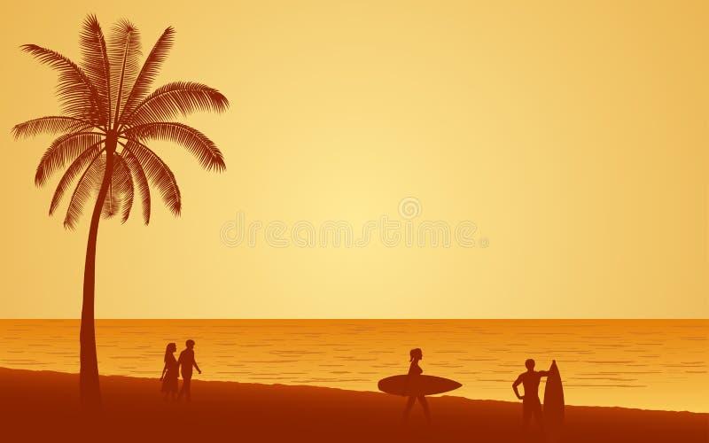 La gente de la silueta con la tabla hawaiana en la playa bajo fondo del cielo de la puesta del sol en icono plano diseña stock de ilustración
