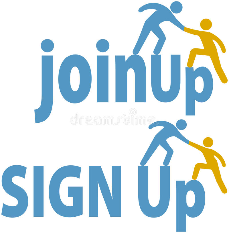 La gente de las ayudas del miembro firmar para arriba ensambla el icono de grupo stock de ilustración