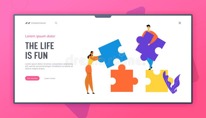 La gente de la oficina trabaja juntos poniendo pedazos separados coloridos del rompecabezas Trabajo en equipo, cooperación, traba ilustración del vector