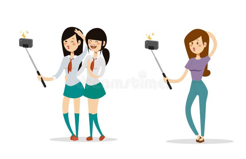 La gente de Selfie aisló a la persona plana elegante del smartphone de la cámara del inconformista determinado de la forma de vid stock de ilustración