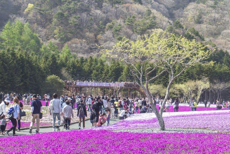 La gente de Tokio y de otras ciudades viene al Mt Fuji y goza del th fotografía de archivo