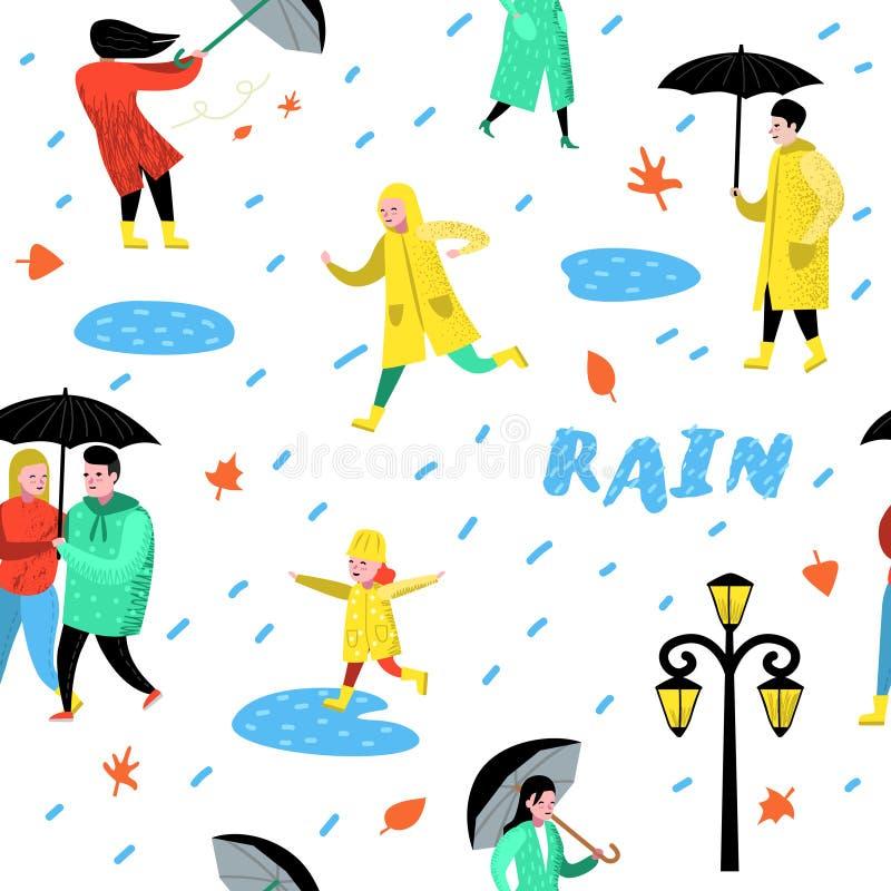 La gente dei caratteri che cammina nel modello senza cuciture della pioggia Fumetti in impermeabili con l'ombrello tempo piovoso  illustrazione vettoriale