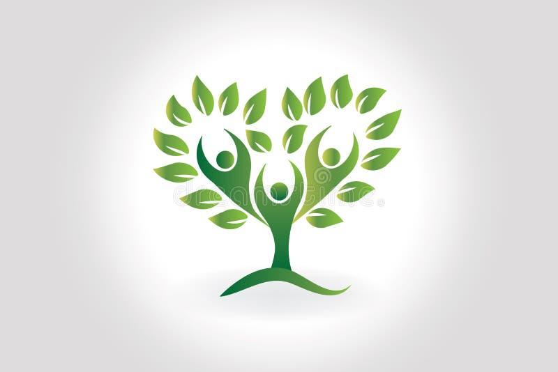 La gente del ?rbol del logotipo ama dise?o del vector del icono del s?mbolo de la forma del coraz?n stock de ilustración