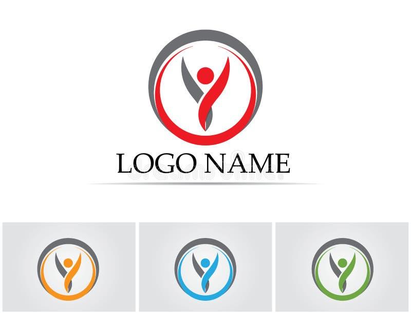 La gente del éxito de la salud cuida la plantilla del logotipo y de los símbolos stock de ilustración
