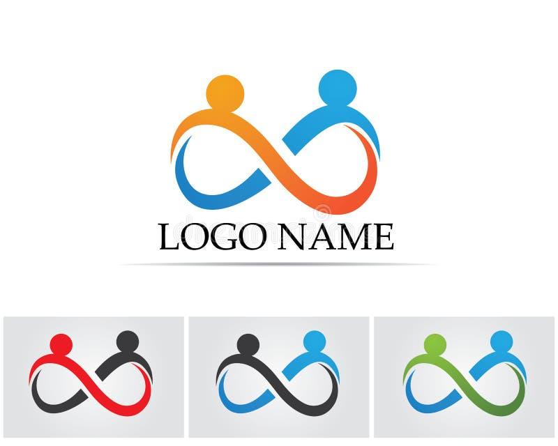La gente del éxito de la salud cuida la plantilla del logotipo y de los símbolos libre illustration