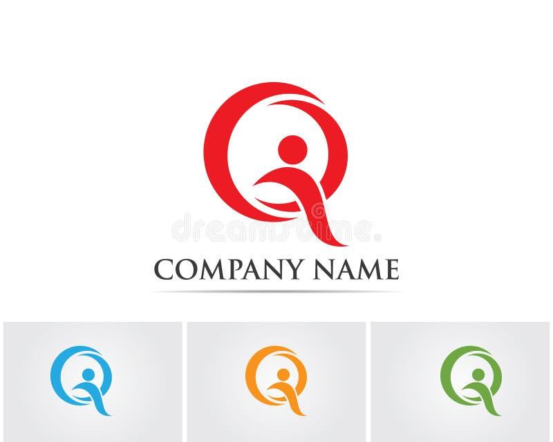 La gente del éxito de la salud de Q cuida la plantilla del logotipo y de los símbolos stock de ilustración