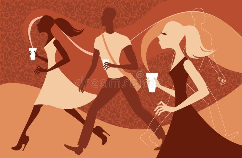 La gente del caffè royalty illustrazione gratis