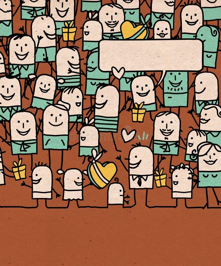 La gente del fumetto ammucchia e festa del papà felice illustrazione vettoriale