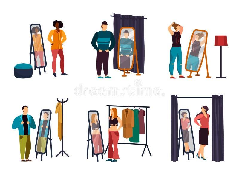 La gente del fumetto che usando guardaroba al negozio o al deposito illustrazione di stock