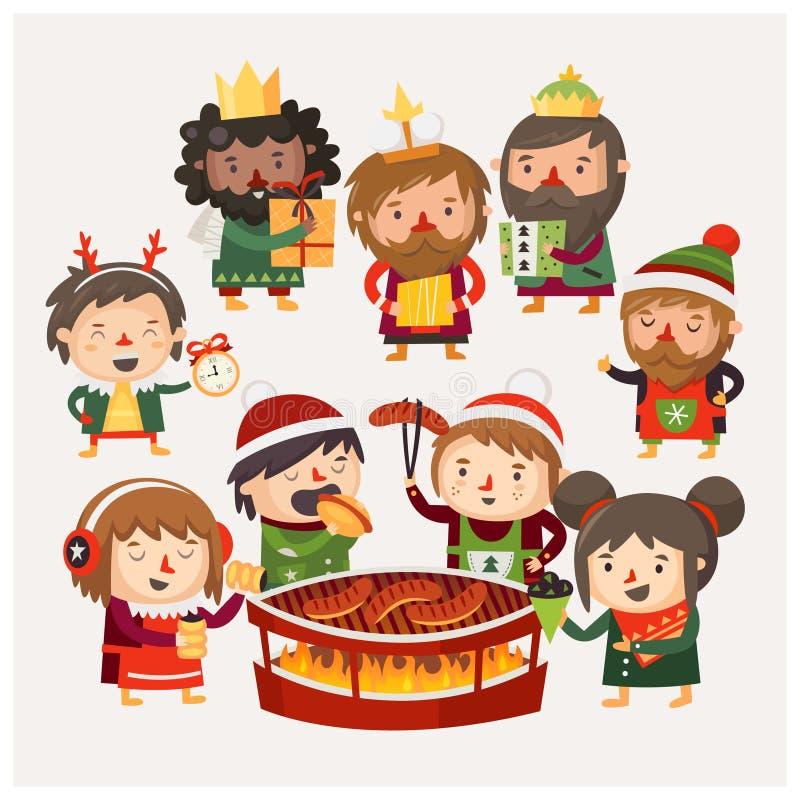 La gente del fumetto a divertiresi del mercato di Natale illustrazione vettoriale
