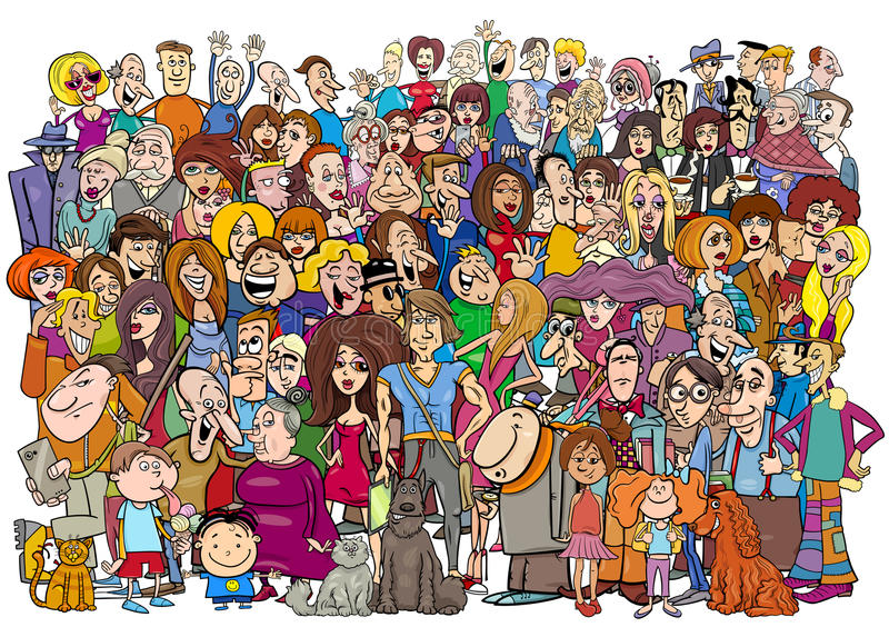 La gente del fumetto nella folla illustrazione di stock