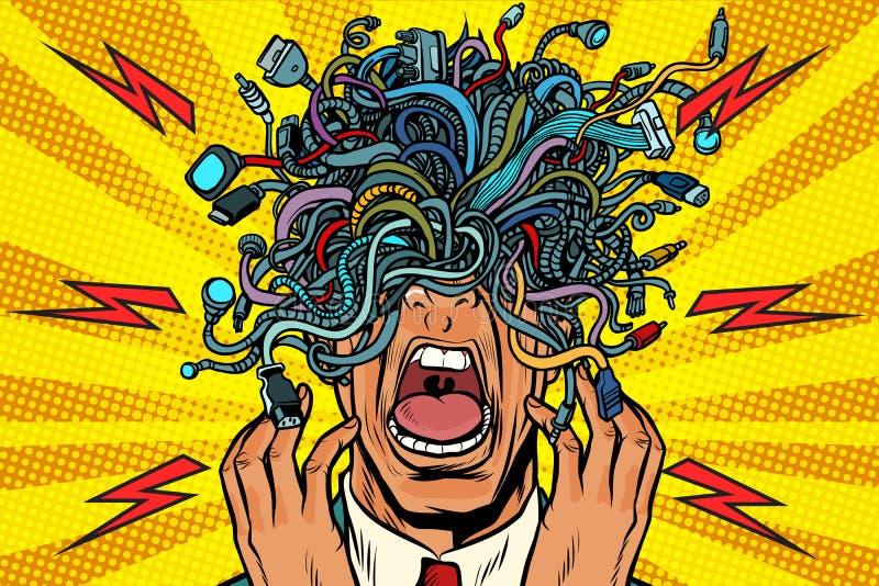 La gente del pánico ata con alambre el fondo del arte pop de los cables del adaptador stock de ilustración