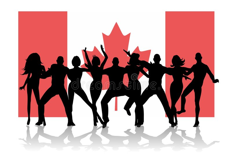 La gente del partito della bandierina di giorno del Canada illustrazione di stock