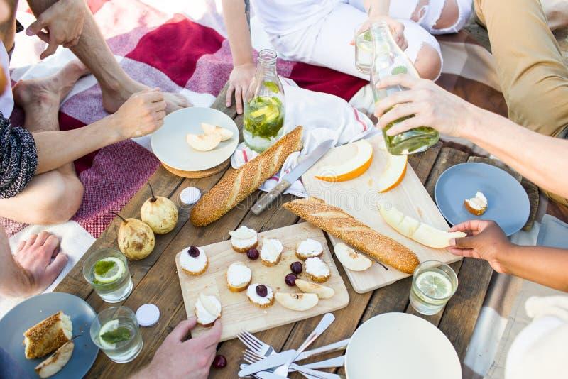 La gente del raccolto che ha picnic durante il partito immagine stock