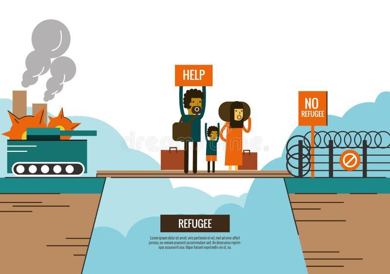La gente del refugiado en la novia entre la guerra civil y la frontera se cerró stock de ilustración
