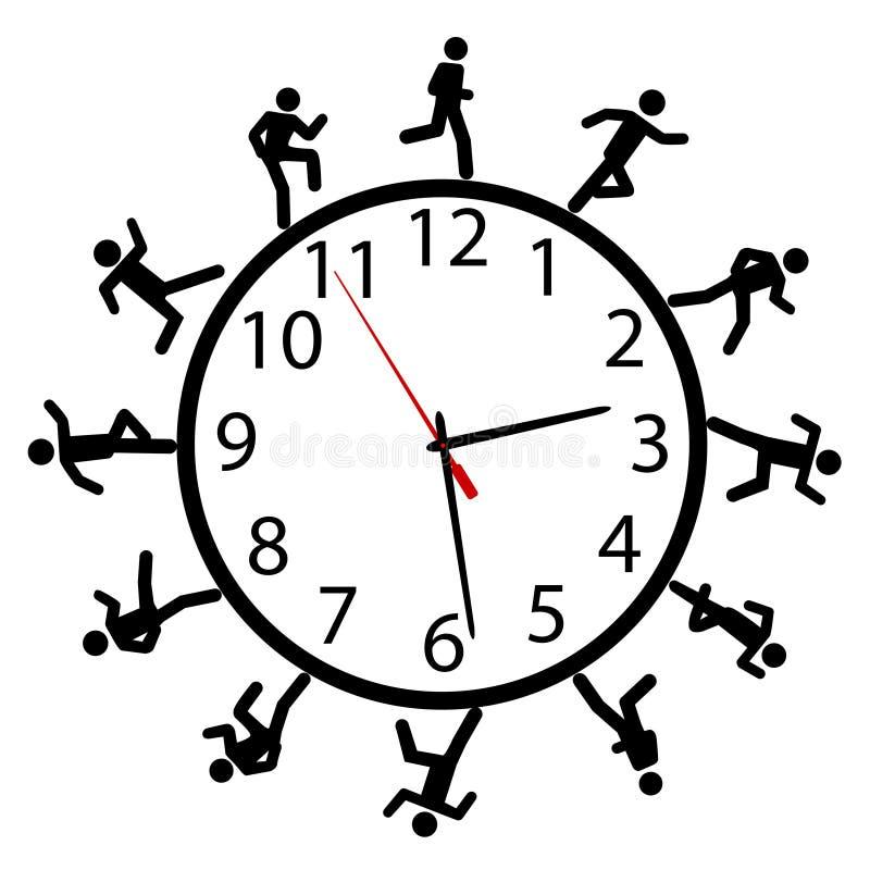 La gente del símbolo corre una carrera alrededor del reloj de tiempo ilustración del vector