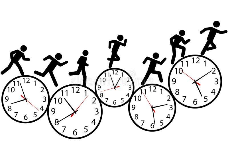 La gente del símbolo corre una carrera a tiempo en los relojes ilustración del vector