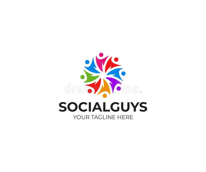 La gente del trabajo en equipo circunda la plantilla del logotipo, diseño social del vector de la comunidad ilustración del vector