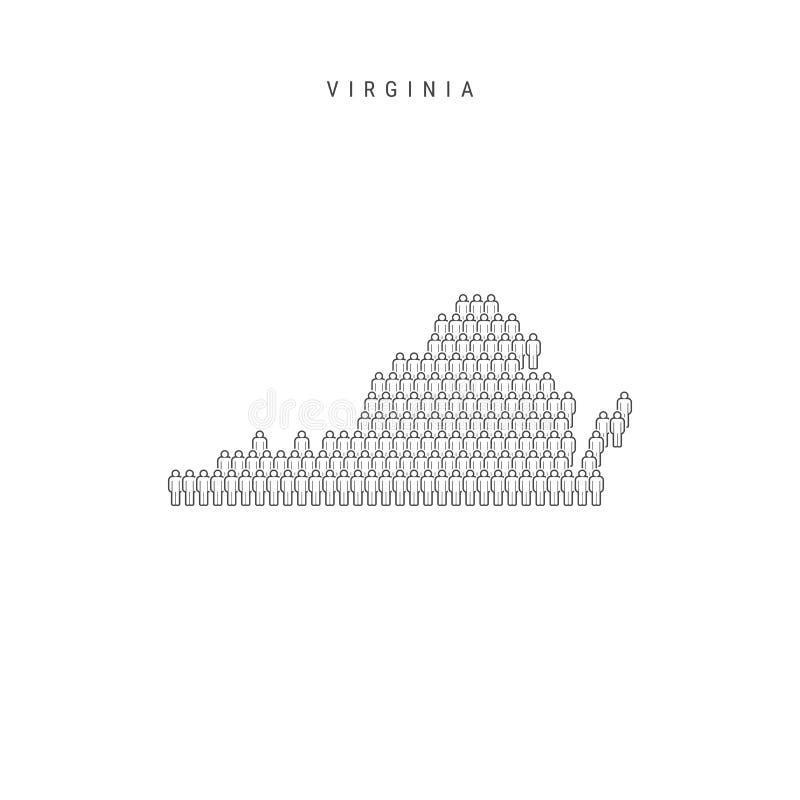 La gente del vector traza estado de Virginia, los E.E.U.U. La silueta estilizada, gente aprieta Virginia Population libre illustration