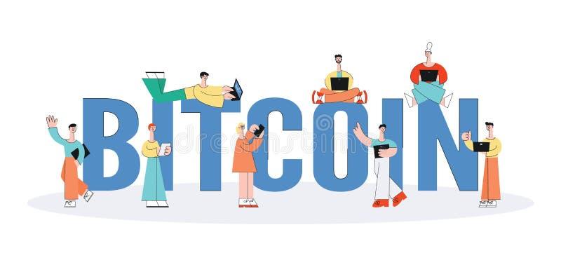 La gente del vector utiliza el bitcoin vía los dispositivos digitales fijados ilustración del vector