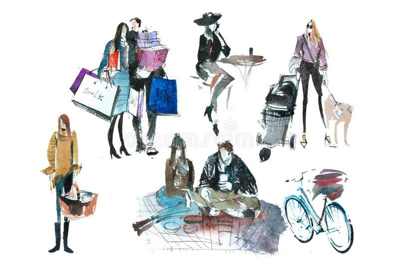 La gente dell'acquerello con i sacchetti della spesa Modo, vendita, autunno illustrazione di stock